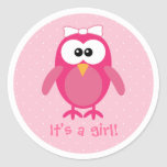 Pink Cartoon Owl Its A Girl New Baby Classic Round Sticker