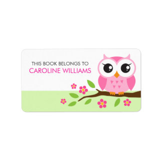 Pink cartoon owl on branch bookplate book label