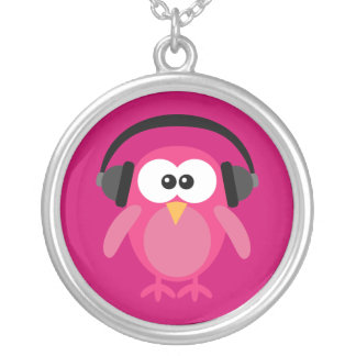 Pink Cartoon Owl With Headphones Round Pendant Necklace