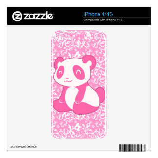 Pink Cartoon Panda Decal For iPhone 4S