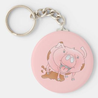 Pink cartoon pig keychain