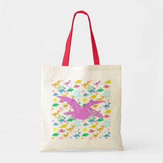 Pink Cartoon Pteranodon Dinosaur Color Stars Bag
