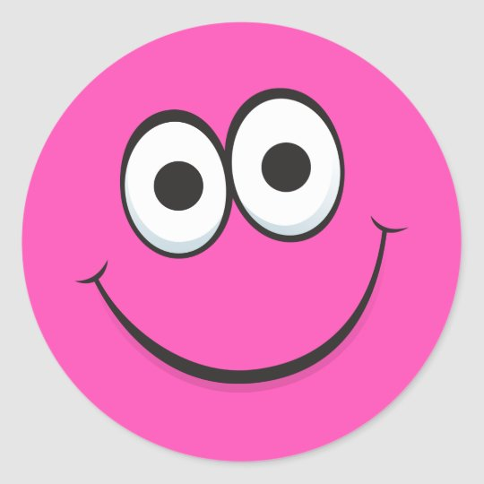 Pink Cartoon Smiley Face With Happy Smile Stickers