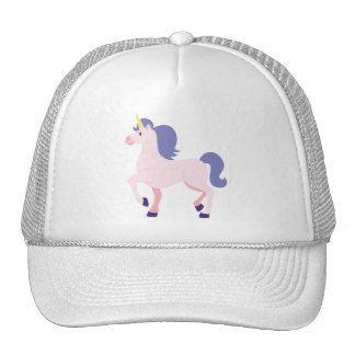 Pink Cartoon Unicorn with Purple Mane and Tail Trucker Hat