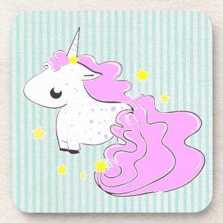 Pink cartoon unicorn with stars cork coaster