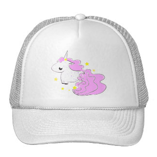 Pink cartoon unicorn with stars hat