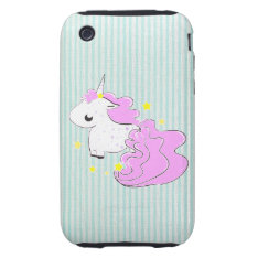 Pink cartoon unicorn with stars iPhone 3G/3GS Case at Zazzle