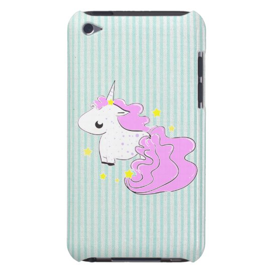Pink cartoon unicorn with stars iPod Touch Barely There iPod Case