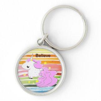 Pink cartoon unicorn with stars keychain keychain