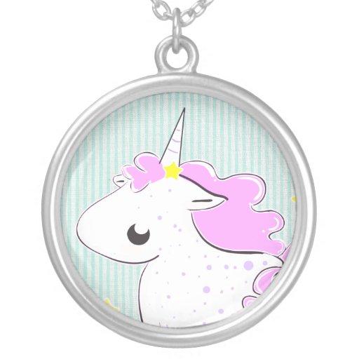 Pink cartoon unicorn with stars Necklace