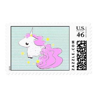 Pink cartoon unicorn with stars postage stamp