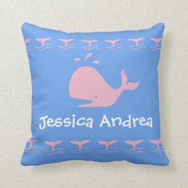 Beach Themed Pink CARTOON whale / w/ blue & white Personalized Throw Pillow