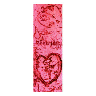 Pink Carved Graffiti Heart BOOKMARK Mini Business Card