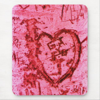 Pink Carved Tree Trunk Grafitti Mouse Pad