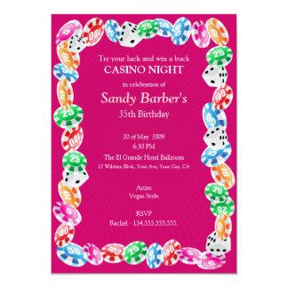 Pink Casino Night Birthday Party Invitation