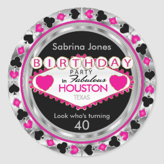 Pink Casino Poker Chip Birthday Party Classic Round Sticker
