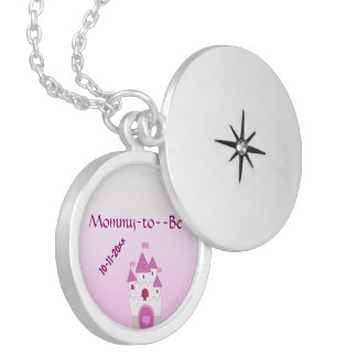 Pink Castle Baby Shower Silver Plated Necklace