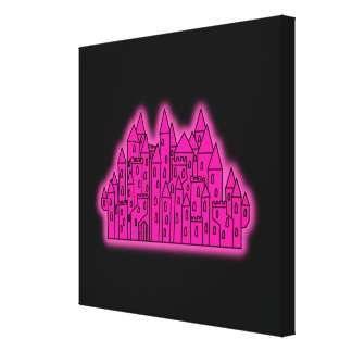Pink Castle Stretched Canvas Print