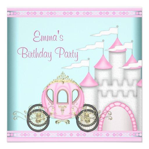 Pink Castle Girls Princess Birthday Custom Invitations