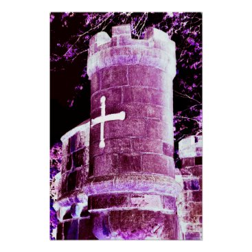 Halloween Themed Pink Castle Goth Art Poster
