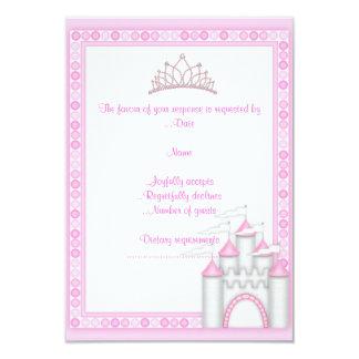 PINK CASTLE PRINCESS BIRTHDAY PARTY RSVP3 CARD