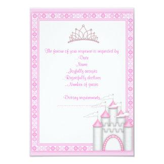 PINK CASTLE PRINCESS BIRTHDAY PARTY RSVP CARD