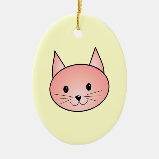 Pink Cat. Adorable kitty. Christmas Ornaments