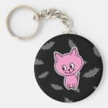 Pink Cat and Bats. Key Chains