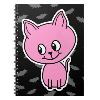 Pink Cat and Bats Spiral Note Books