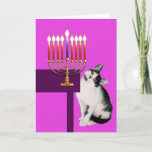 """Pink Cat and Menorah Hanukkah Card<br><div class=""""desc"""">If you know a little girl who loves cats,  this is a perfect Hanukkah card for her.</div>"""