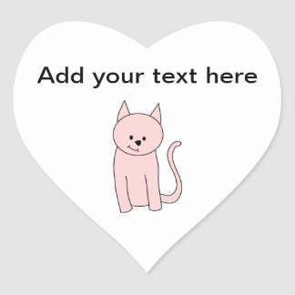 Pink Cat Cartoon Heart Sticker