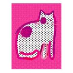 'pink cat' digital painting postcard