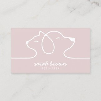 Pink Cat Dog Line Logo Petsitter Business Card