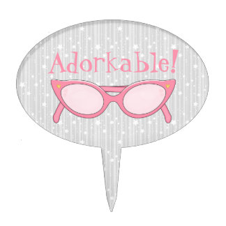 Pink Cat Eye Glasses - Personalize It Cake Topper