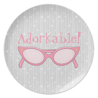 Pink Cat Eye Glasses - Personalize It Dinner Plate