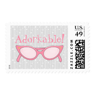 Pink Cat Eye Glasses - Personalize It Postage