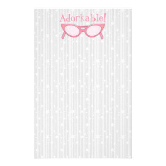 Pink Cat Eye Glasses - Personalize It Stationery