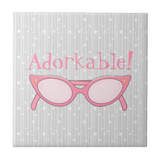 Pink Cat Eye Glasses - Personalize It Tile