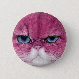 PINK CAT FIERCE LOOK CAT EYES, FUN PINK CAT BUTTON