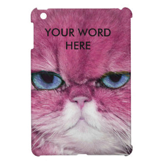 PINK CAT FIERCE LOOK CAT EYES, FUN PINK CAT iPad MINI COVERS