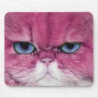 PINK CAT FIERCE LOOK CAT EYES, FUN PINK CAT MOUSE PAD