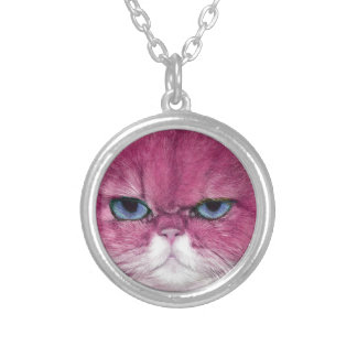 PINK CAT FIERCE LOOK CAT EYES, FUN PINK CAT SILVER PLATED NECKLACE