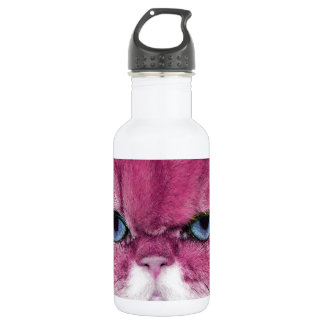 PINK CAT FIERCE LOOK CAT EYES, FUN PINK CAT STAINLESS STEEL WATER BOTTLE