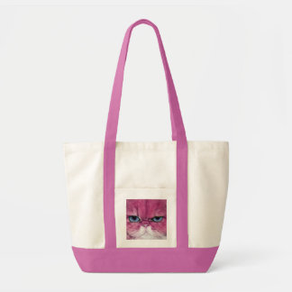 PINK CAT FIERCE LOOK CAT EYES, FUN PINK CAT TOTE BAG