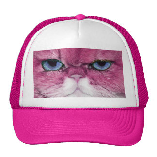 PINK CAT FIERCE LOOK CAT EYES, FUN PINK CAT TRUCKER HAT