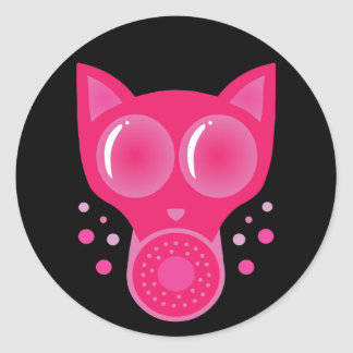 Pink Cat Gas Mask Round Stickers