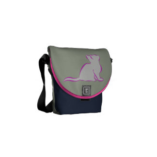 Pink cat, grey fill/black cat silhouette messenger bag