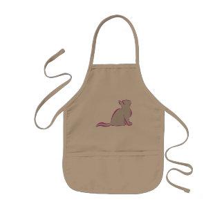 Pink cat, grey fill kids' apron