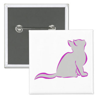Pink cat, grey fill pinback button