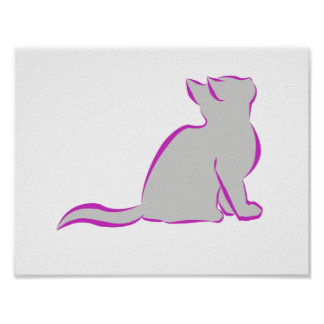 Pink cat, grey fill poster